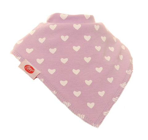 Bandana Dribble Bib Lilac with Hearts