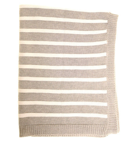 Stripe Blanket in Grey,  Blue and Pink