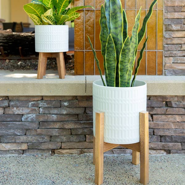 "10'' And 8"" Roman Ceramic Planter On Wood Stand - Set of 2"