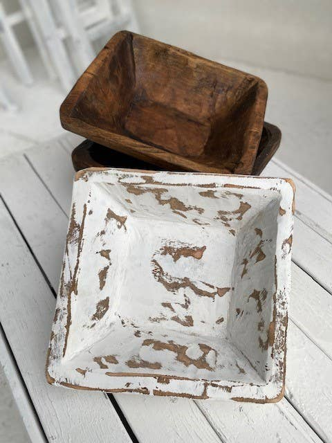Hand- Carved Wooden Square Bowl