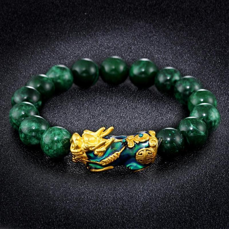 Delay® buddhist bracelet - Golden Pixiu Green Beads Wealth Bracelet