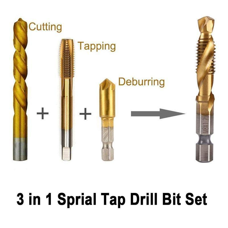 6 PCS Metric Thread Tap Drill Bits Set