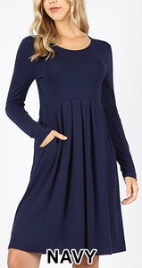PREMIUM PLEATED WAIST LONG SLEEVE DRESS- PLUS