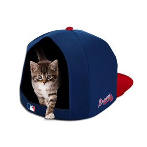 MLB PET BED-BRAVES-PLUSH-BLUE/RED