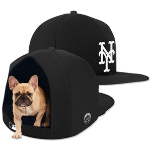 New York Mets Noir Nap Cap Plush Dog Bed