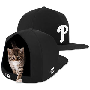 MLB PET BED-PHILLIES-PLUSH-NOIR