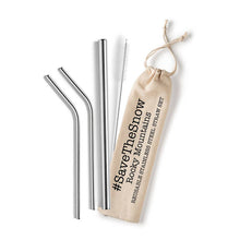 Shell Creek Sellers Reusable Stainless Steel Straw Sets (#Savethesnow, Rocky Mountains)