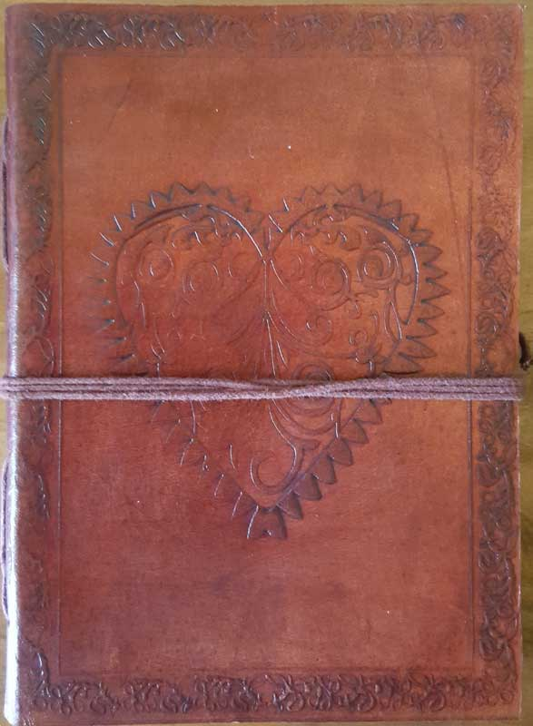 Heart leather blank book with cord