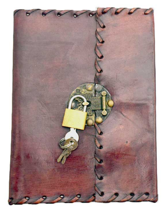 Stiched leather blank book w/ key