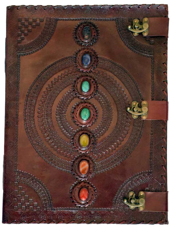 "Chakra Stone Leather Blank Book w/ 3 latches - (13 1/2"" x 18"")"