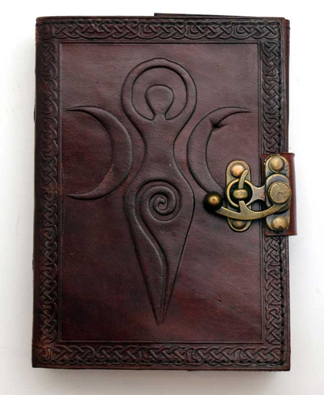 Maiden Mother Moon leather blank book w/ latch