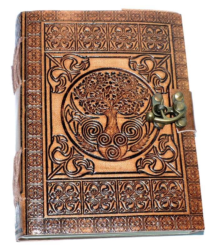 Tree of Life Embossed Leather Journal w/ Latch