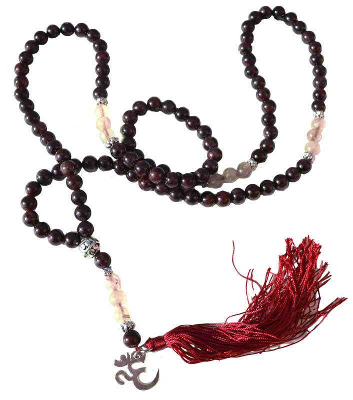 Garnet & Rultilated Quartz Elastic Mala