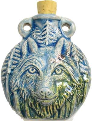 Wolf Raku Oil Bottle