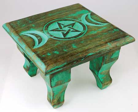 "Antiuqed Triple Moon Altar Table 6""x6""x4"""