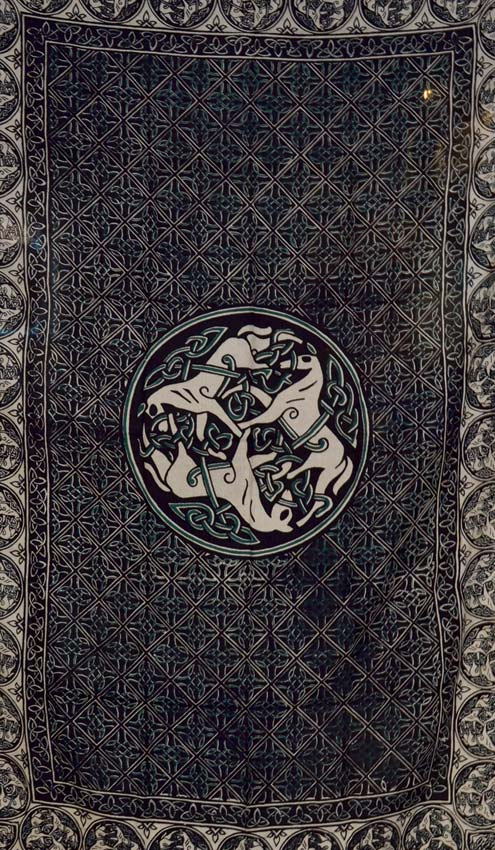 "Celtic Horse green/white/black tapestry 60""x90"""