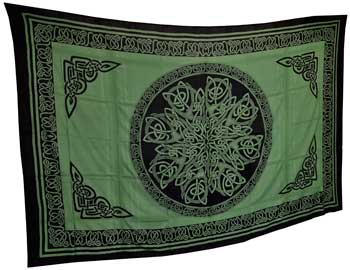 Ancient Celtic Knot Tapestry Green & Black