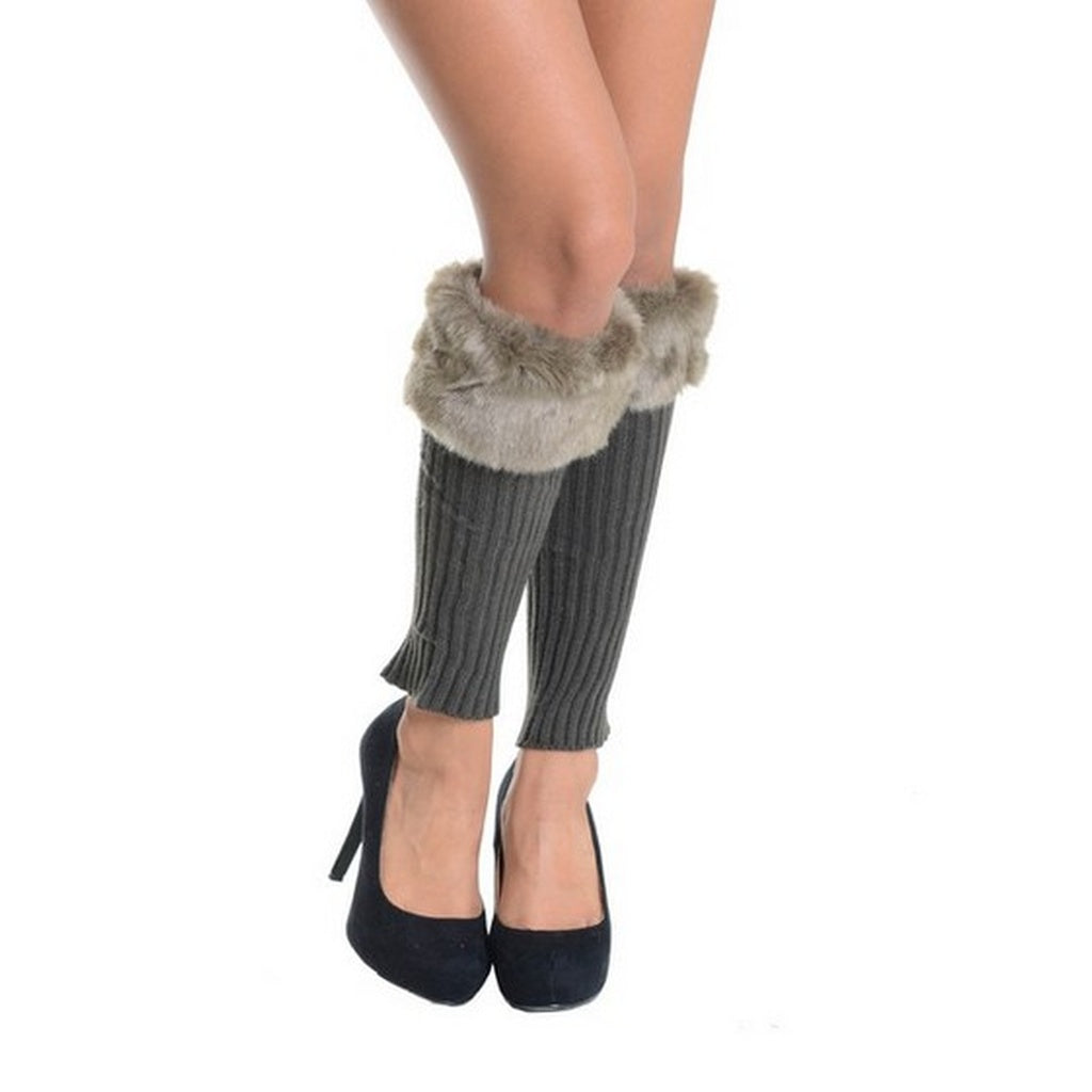 Grey Ribbed Knit Faux Fur Top Leg Warmers - Fierce and Free