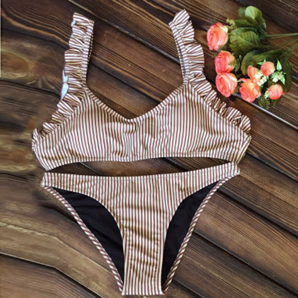 Striped Ruffle Swimsuit - Fierce and Free