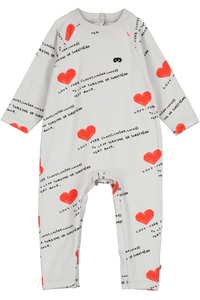 Baby Jersey Romper, Quiet Grey, I Heart You AOP