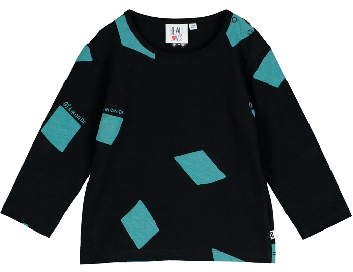 Baby Long Sleeve T-shirt, Black, Diamonds AOP