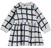 Oversized Raglan Baby Dress, Natural, Grid AOP