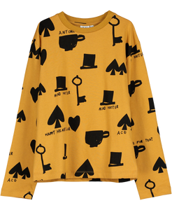 Long Sleeve Jersey T-shirt, Dark Camel, Wonderland AOP