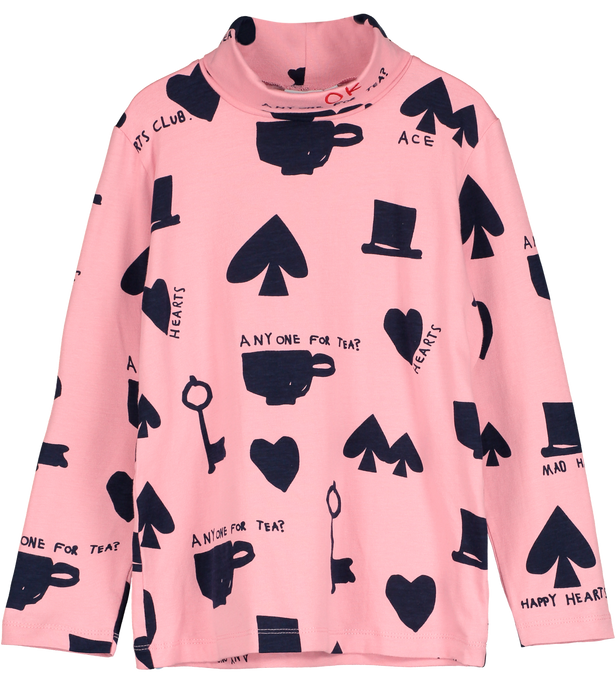 Turtle Neck Top, Pink, Wonderland AOP