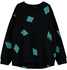Relaxed Fit Sweater, Black, Diamonds AOP