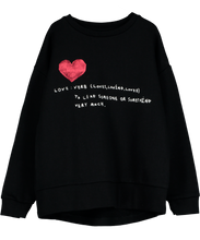 Relaxed Fit Sweater, Black, Love Verb