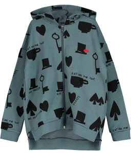 Hoodie Zip Sweater, Charcoal, Wonderland AOP