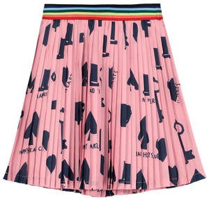 Pleated Mini Skirt, Pink, Wonderland AOP