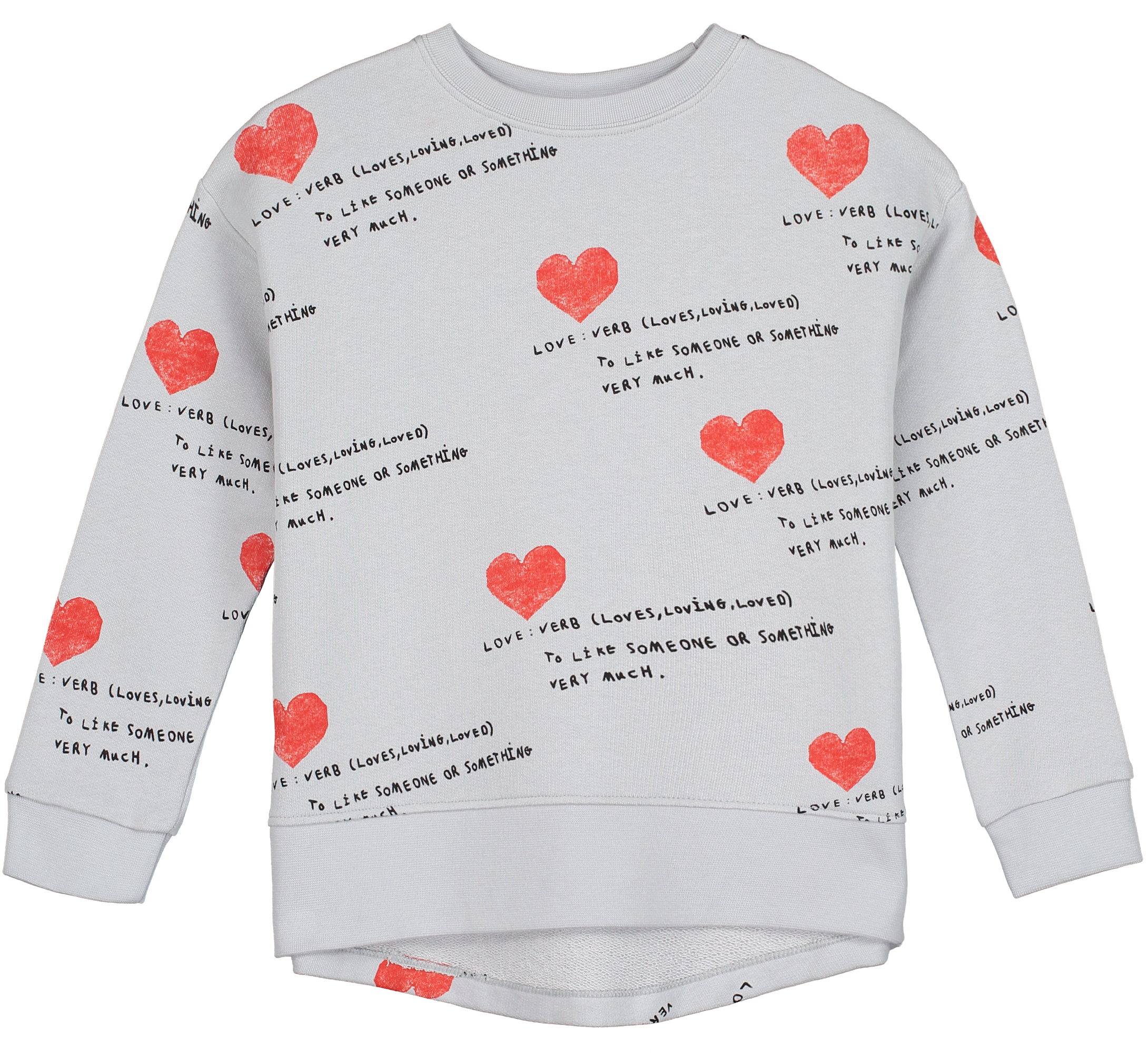 Relaxed Fit Sweater, Natural, I Heart You AOP