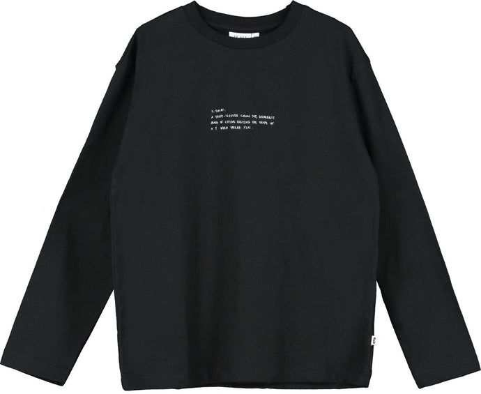 Black Text Long Sleeve T Shirt