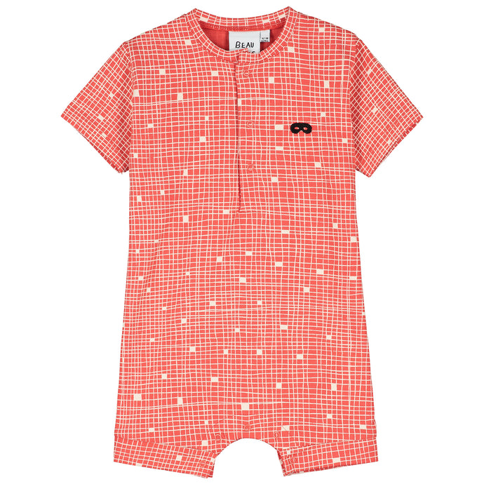 Red Grid Baby Short Romper