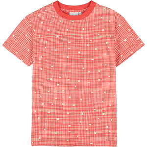 Red Grid T-Shirt Loves Loves Loves on Back