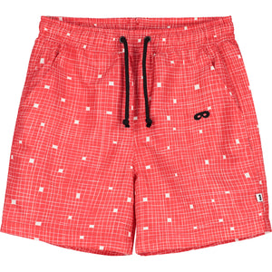 Red Grid Drawstring Swim Shorts