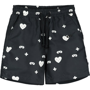 Black Hearts + Masks Drawstring Swim Shorts