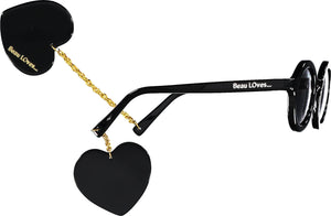 Black and Gold Heart Sunglasses
