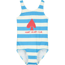 Blue Stripe Happy Hearts Club Swim Suit