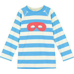 Blue Stripe Hero Mask Long Sleeve Swim Top