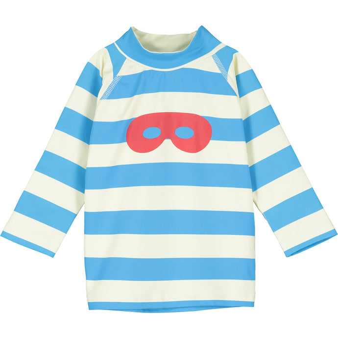 Blue Stripe Hero Mask Long Sleeve Baby Swim Top