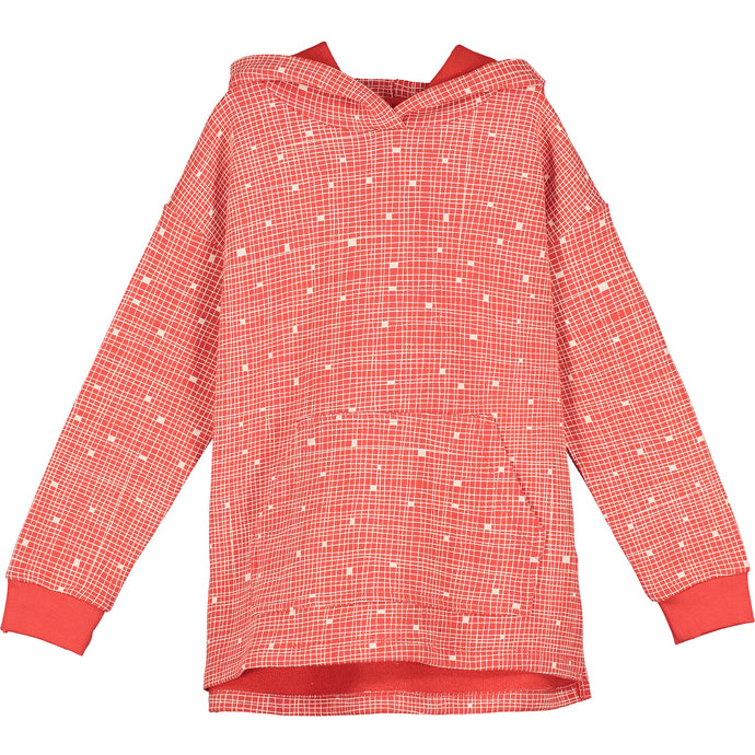 Red Grid Relaxed Fit Hoodie