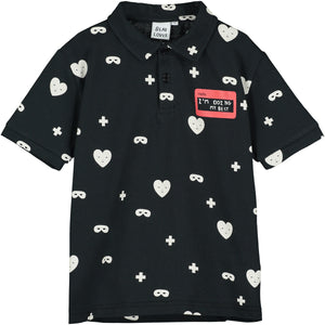 Black Hearts + Masks Polo T Shirt
