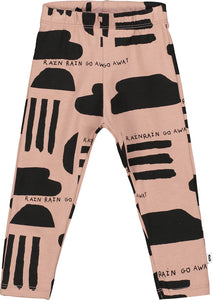 Washed Redwood Rain Print Baby Leggings