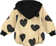 Sandstone Hearts Baby Hooded Romper