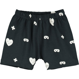 Black Hearts + Masks Baby Shorts
