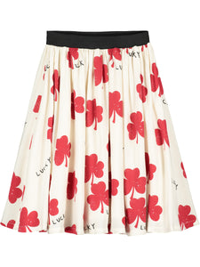 Natural Lucky Print Circle Skirt