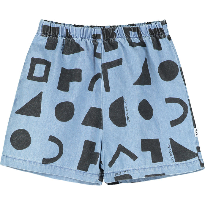 Washed Blue Chambray Positive Thoughts Baby Shorts