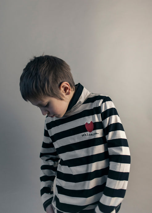 Turtle Neck, Off White/Black, Stripes
